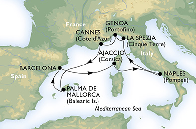 客船ファンタジアで行く地中海7泊8日
