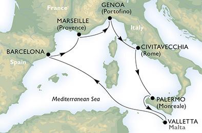 客船スプレンディダで行く地中海クルーズ7泊8日