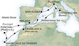 客船マニフィカで行くカナリア諸島・マデイラ島と地中海クルーズ11泊12日