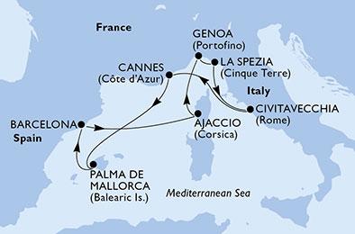 MSCシービューで行く地中海7泊8日