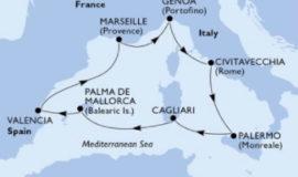 MSCディヴィーナで巡る地中海シチリアサルデーニャパルマデマヨルカ等