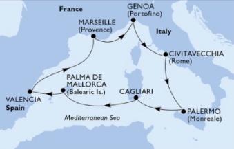 MSCディヴィーナで巡る地中海7泊8日