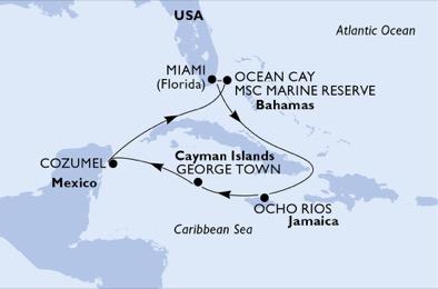 航空券+前泊ホテル込み!マイアミ発MSCシーサイドで巡るカリブ海7泊8日